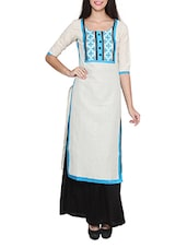 White Blue Colored, Printed Long Cotton Kurta - By