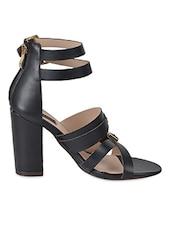 Strappy Black Leatherette Heel Sandals - Flat N Heels