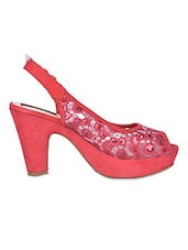 Sling Back Peep Toe Red Lace Sandal - Flat N Heels
