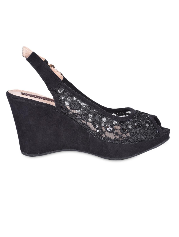 Sling Back Peep Toe Black Lace Wedges - Flat N Heels