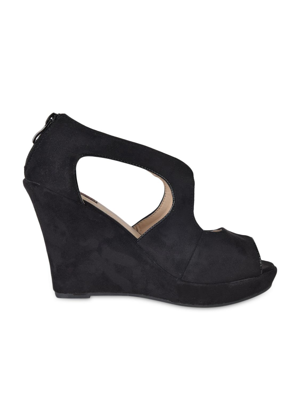 Peep Toe Black Suede Wedges - Flat N Heels