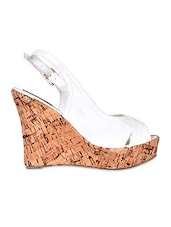 Cross Straps Sling Back White Wedges - Flat N Heels