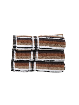 set of 3 brown cotton hand towel