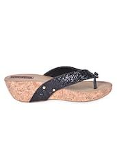 Black Bling Strap Platform Heel Sandals - Flat N Heels