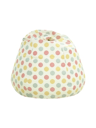 white printed canvas bean bag