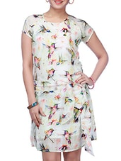 Bird Printed White Short Sleeve Dress - Diva Couture By Divvya