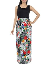 Floral Printed Side Slit Maxi Dress - Diva Couture By Divvya