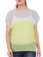 Short Sleeves Colour Block Polyester Top - Liwa