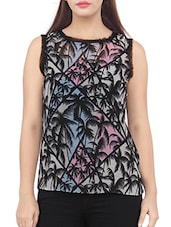 Sleeveless Palm Tree Printed Top - Liwa