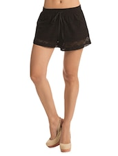 Solid Black Lacy Shorts - By