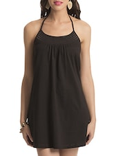 Black Halter Neck Cotton Dress - By