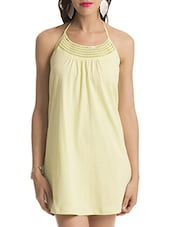 Solid Halter Neck Cotton Dress - By