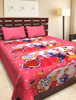 Pink Cartoon Printed Cotton Double bedsheet Set -  online shopping for bed sheet sets