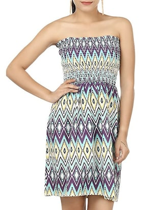 multi colored printed cotton tube dress