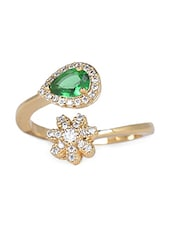 Gold Green Flower And Diamond Shaped Stone Metallic Ring - By