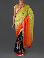 Multicoloured embroidered georgette saree available at Limeroad for Rs.1990