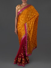 Mustard and pink embroidered georgette saree available at Limeroad for Rs.1990