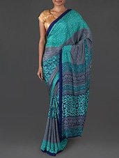 Navy Blue And Turquoise Printed Crepe Saree - Triveni