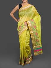 Green Cotton Banarasi Saree - By