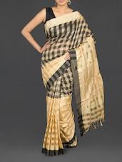Beige Checked Cotton Banarasi Saree - WEAVING ROOTS