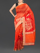Orange Cotton Banarasi Saree - WEAVING ROOTS