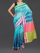 Blue Leaf Printed Cotton Banarasi Saree - WEAVING ROOTS