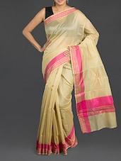 Gold Cotton Banarasi Saree - WEAVING ROOTS