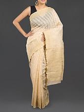 Cream Cotton Banarasi Saree - WEAVING ROOTS