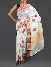 White Checked Cotton Banarasi Saree - WEAVING ROOTS