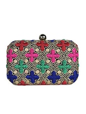 multi colour resham embroidered box clutch