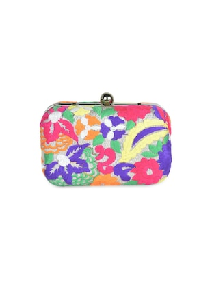 multi colour floral embroidery box clutch