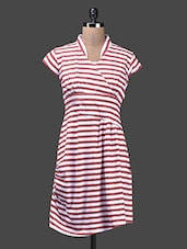 Striped Red And White Poly Lycra Knit Dress - Glam And Luxe