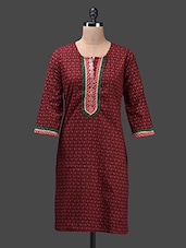 Maroon Round Neck Printed Cotton Kurta - Glam And Luxe