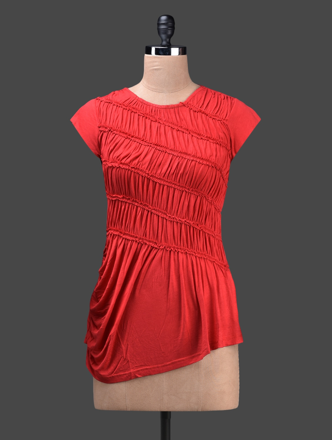 Red Viscose Knit Gathered Top - Glam And Luxe