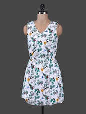 Cut Out Back V Neck Printed Cotton Dress - Citrine