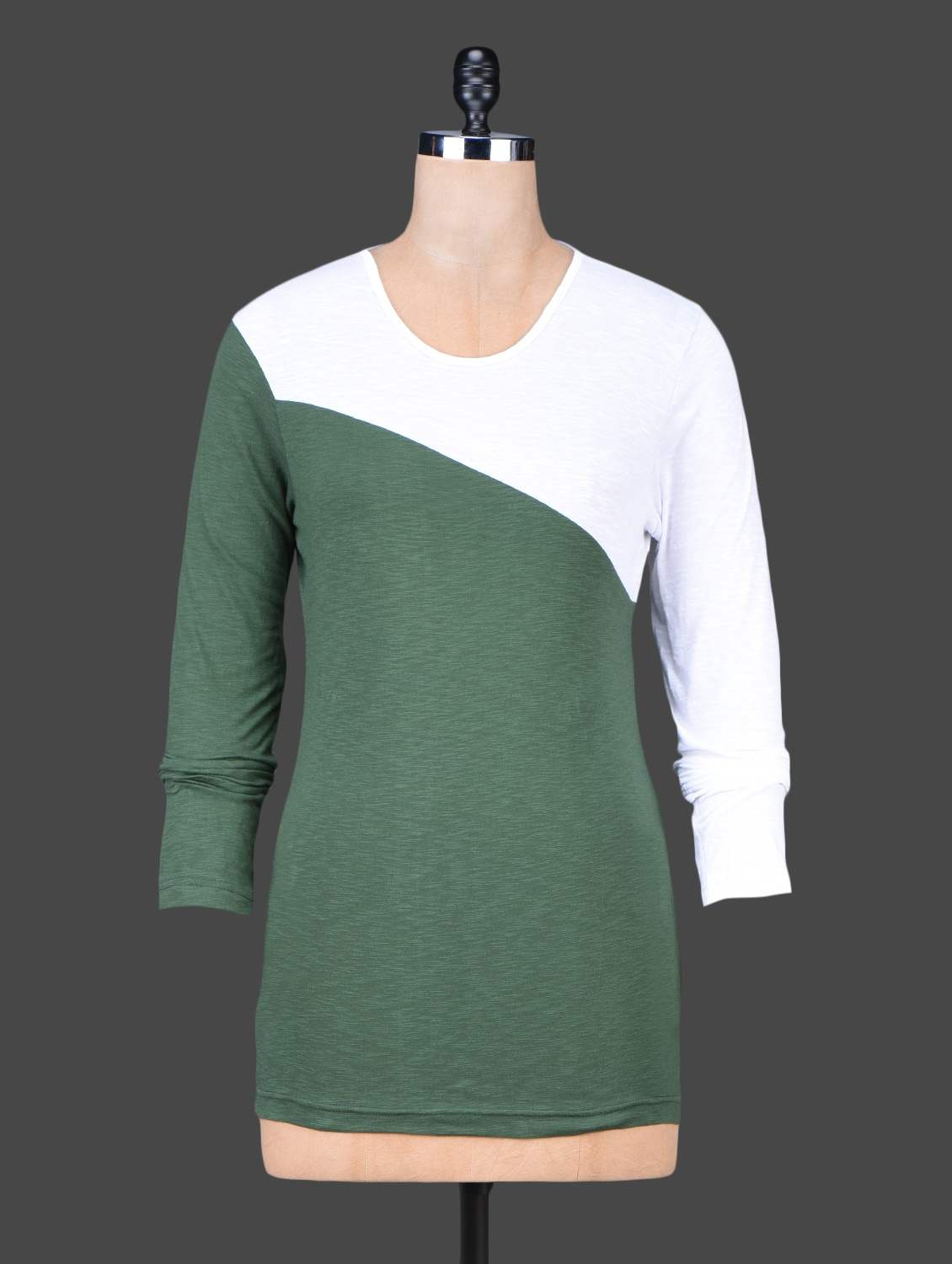 Long Sleeves Colour Block Cotton Top - Trend Arrest