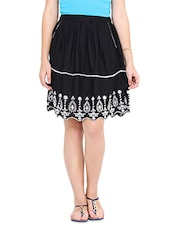 Black White Embroidered Short Skirt - By