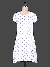 Short Sleeves Printed Polyester Dress - Trend Arrest