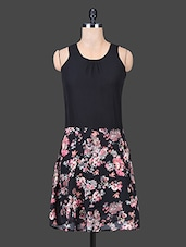 Black Sleeveless Floral Print Dress - Trend Arrest
