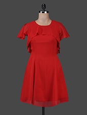 Red Poly Georgette Dress With Layered Yoke - Texco