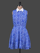 Blue Printed Poly Georgette Shirt Dress - Texco