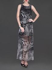 Monochrome Snake Print Sleeveless Maxi Dress - Texco