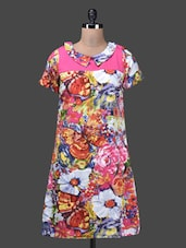 Flowers & Butterfly Printed Short Sleeves Dress - QUEST