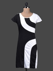 Round Neck Short Sleeves Monochrome Dress - QUEST