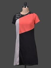 Colour Blocked Short Sleeves Dress - QUEST