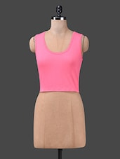 Pink Cotton Spandex Knit Sleeveless Crop Top - Finesse