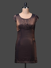Brown Round Neck Polyester Sheath Dress - SPECIES