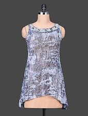 Grey Sleeveless Printed Multi Blend Top - SPECIES
