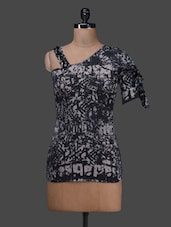 Black Short Sleeve Printed Multi Blend Top - SPECIES