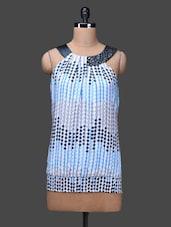 Grey Sleeveless Polka Print Polyester Top - SPECIES